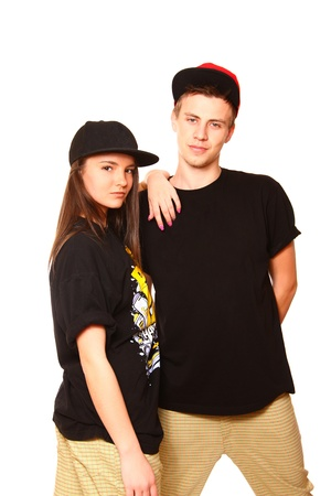 cool boy: Cool boy and girl hip hop dancers posing Stock Photo