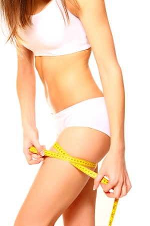 metric: Woman measuring her thigh with a yellow metric tape measure after a diet on white background