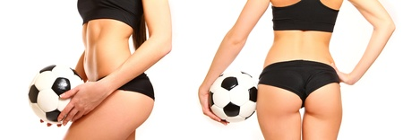 hot legs: Woman with a soccer ball, side view and rear isolated on white Stock Photo