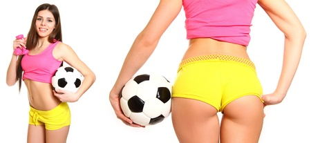 Young woman with a soccer ball and dumbbells, front and rear isolated photo