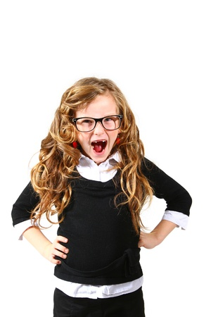 Business little girl in glasses on  white background shouting photo