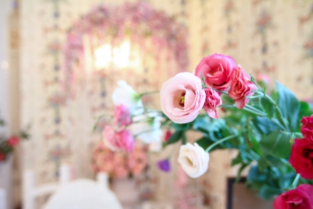Antique interior, flowers in a foreground photo