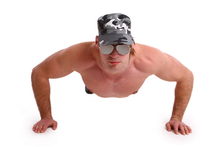 military man exercise isolated in white background photo