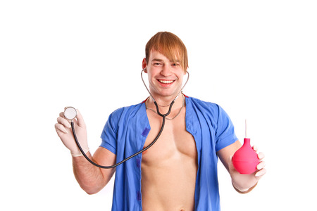 Happy sexy doctor with stethoscope and enema isolated photo