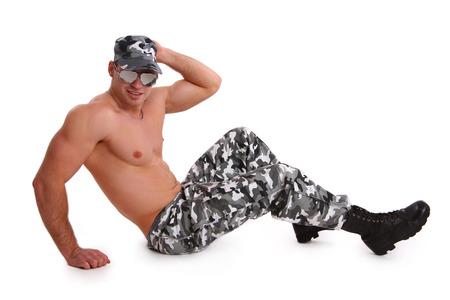 militaire sexy: Militaire sexy sur blanc