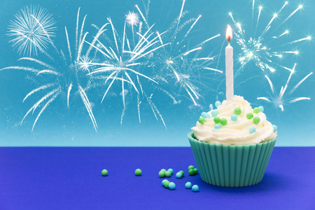 cordially: cupcake with fireworks