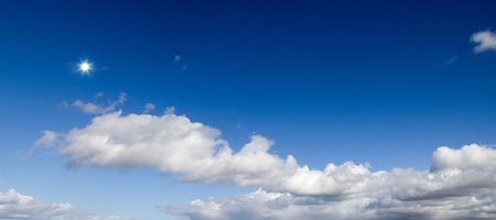 Sky panorama with sun
