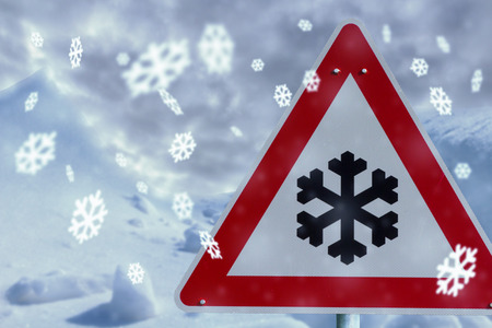 traffic sign with snowflakes
