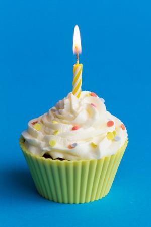 yellow birthday cupcake