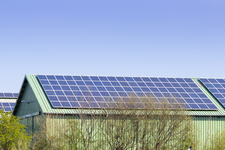barn with photovoltaic Stock Photo