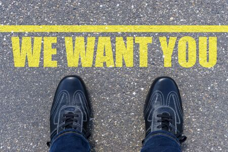 Top View of Business Shoes on the floor with the text: We Want You! Stock Photo