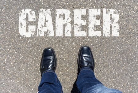 Top View of Business Shoes on the floor with the text: Career