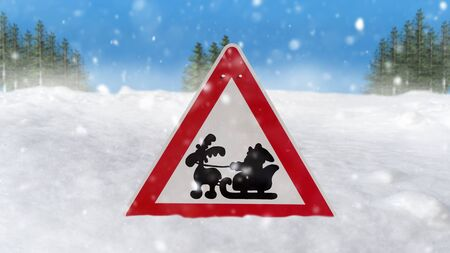 Road sign Santa Claus riding on sleigh with gift box against snowy landscape