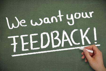 We want your feedback Stockfoto