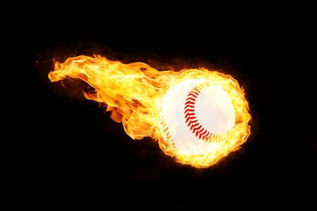 Flying baseball ball on fire