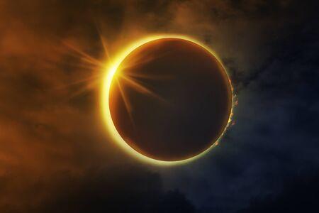 Une éclipse totale de soleil.