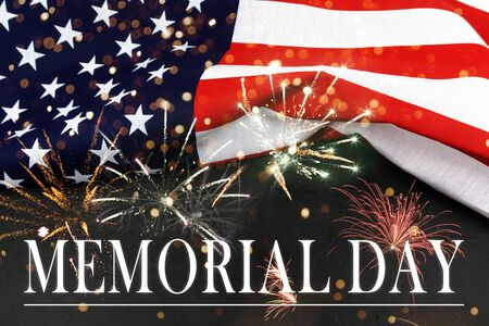 Ext Memorial Day on American flag background with fireworks