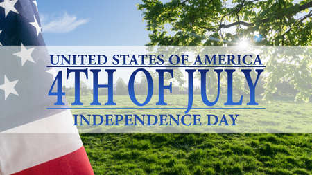 Text Indepencence Day with flag on beautiful landscape Stock Photo