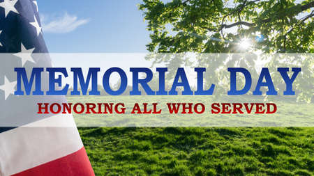Beautiful landscape with American flag and the text Memorial Day Stock Photo