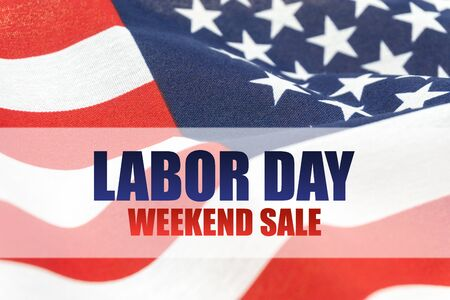 USA flag with text Labor Day weekend sale