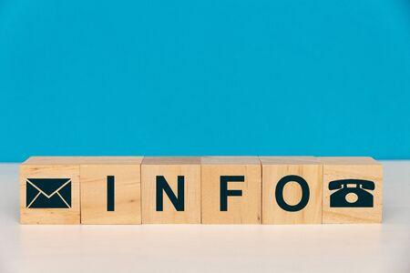 Info Word Written On Wood Cube