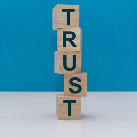 Trust Word Written On Wooden Cubes Stock Photo