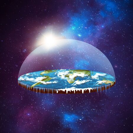 Flat earth in space Stock Photo