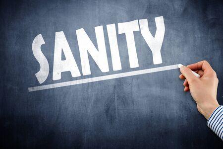 Sanity written on chalkboard Stock Photo