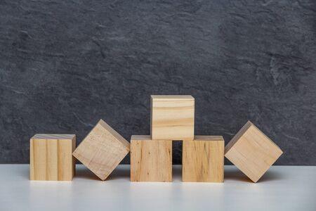 Six wooden blocks Stock Photo