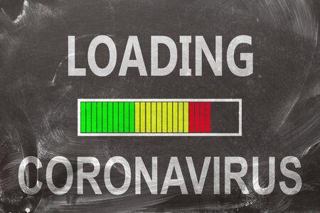 Loading Coronavirus on chalkboard