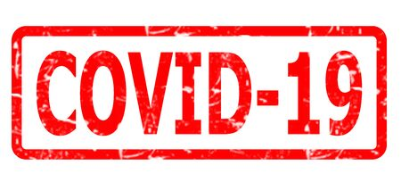 COVID-19 rubber stamp, banner Coronavirus disease 2019