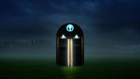 Landscape with glowing door at night
