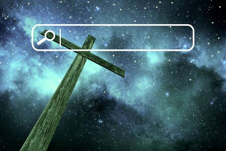 Wooden Cross at night sky with search bar and loupe Stock Photo