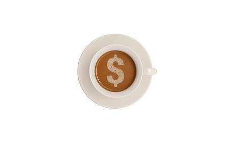 dollar symbol: Dollar symbol on coffee