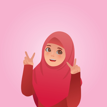 Gesture Peace Expressions, Cute Moslem Girl Illustration Cartoon Vector