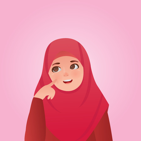 Confused Gesture Expressions Cute Girl Cartoon Vector Illustration