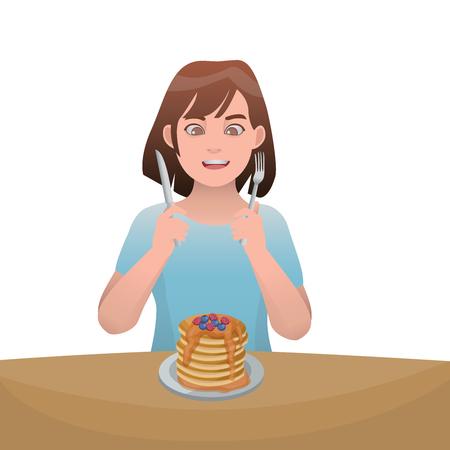 Fille, manger, crêpe, illustration, vecteur, dessin animé