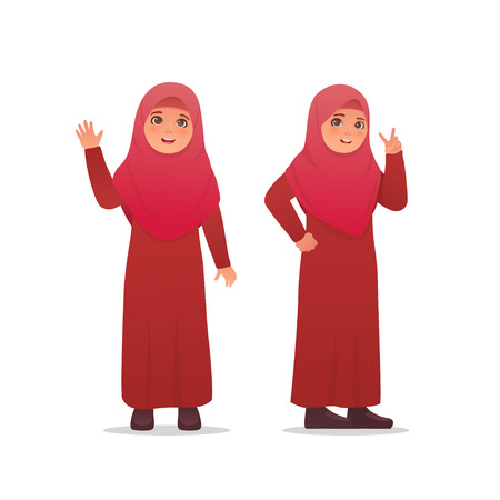 Cute Little Girl Wearing Hijab Veil Dress Character Design Illustration