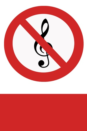 interdict: Red painted sign with the ban music.