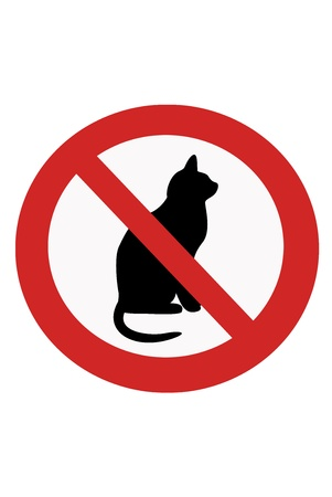 banning: Red painted signs entry ban with cats.