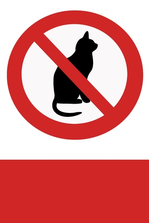 interdict: Red painted signs entry ban with cats.