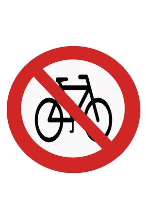 interdict: Red painted sign with the prohibition of cycling.