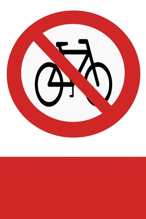 inhibition: Red painted sign with the prohibition of cycling.