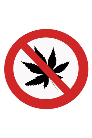 interdict: Red painted sign with the prohibition of marijuana.