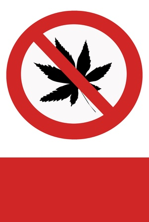 inhibition: Red painted sign with the prohibition of marijuana.