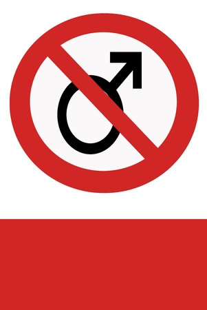 inhibition: Red painted signs entry ban man to object. Stock Photo