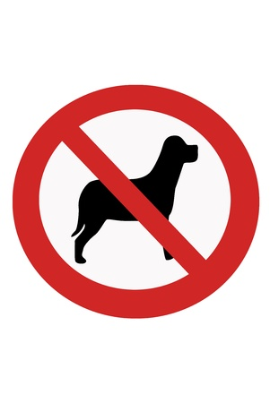 interdict: Red painted sign with paw banning dogs.