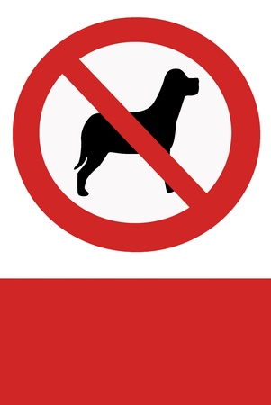 banning: Red painted sign with paw banning dogs.