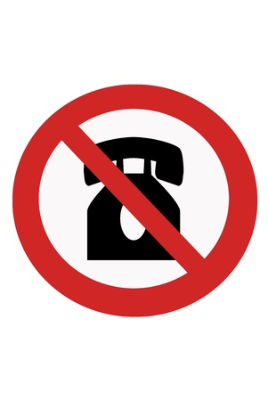 inhibition: Red painted signs ban on using phones.