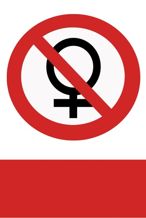 inhibition: Red painted signs entry ban women. Stock Photo